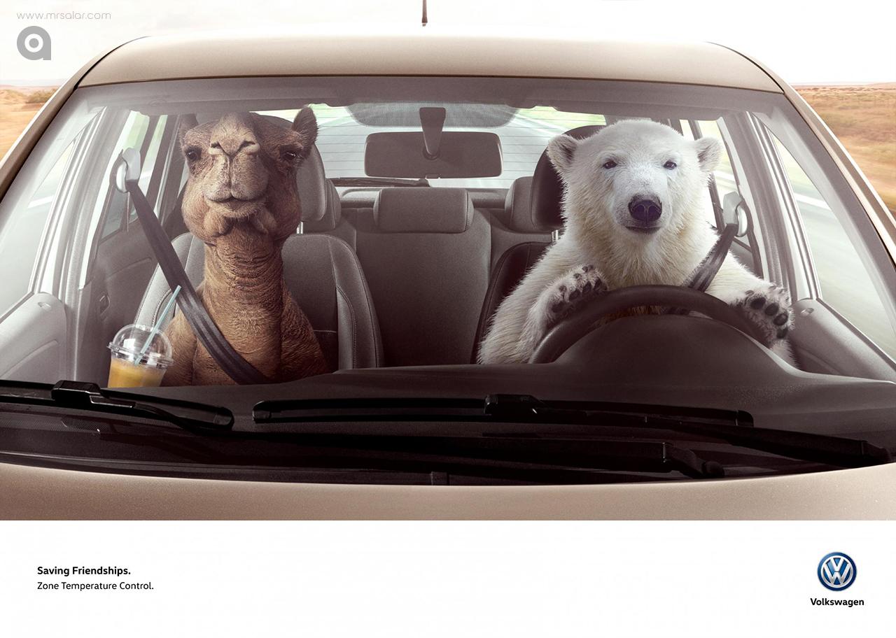 تصویر تبلیغاتی فولکس واگن: خرس قطبی و شتر